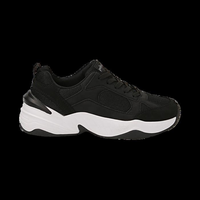 Dad shoes nere in microfibra, zeppa 4,50 cm, Sneakers, 142619462MFNERO036