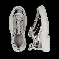 Dad shoes argento in vernice mirror con maxi-suola , Scarpe, 130101201SPARGE036, 003 preview