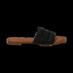 Mules flat nere in eco-pelle intrecciata, Primadonna, 133600110EINERO036, 001 preview