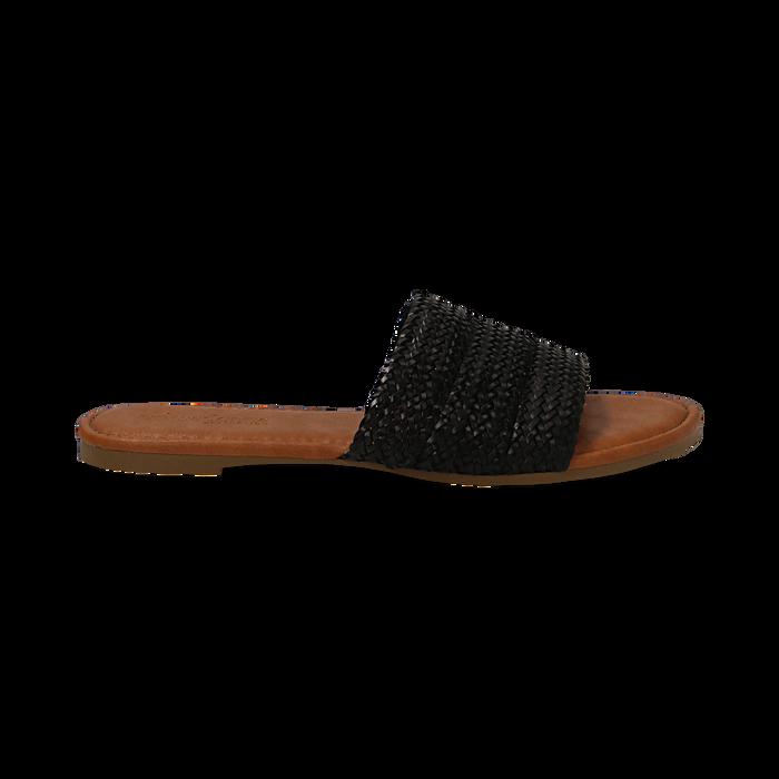 Mules flat nere in eco-pelle intrecciata, Primadonna, 133600110EINERO036