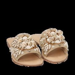 Ciabatte beige in rafia con conchiglie, Zapatos, 15K904446RFBEIG036, 002a