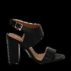 Sandali neri in eco-pelle, tacco comfort 10 cm, Sandali con tacco, 136383057EPNERO035, 001a