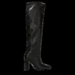 Stivali neri con gambale dritto, tacco quadrato 9,5 cm, 122166717EPNERO035, 001a