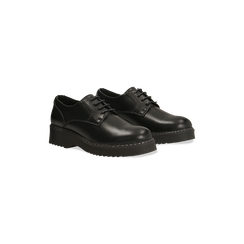 Francesine stringate nere casual punta tonda, 120603905EPNERO036, 002