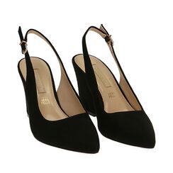 Slingback negro de microfibra, tacón 8,50 cm, Zapatos, 172183402MFNERO035, 002a