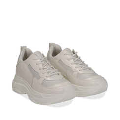 Dad shoes bianche in eco-pelle, Scarpe, 130609701EPBIAN037, 002a