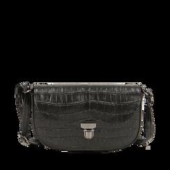 Borsa piccola nera in eco-pelle stampa cocco, Primadonna, 146600202CCNEROUNI, 001a