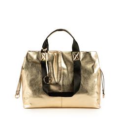 Maxi-bag oro in eco-pelle laminata, Primadonna, 152392506LMOROGUNI, 001a