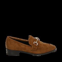 Mocasines de microfibra en color cuero, Zapatos, 164964141MFCUOI037, 001a