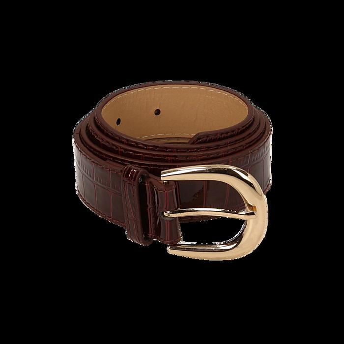 Cintura bordeaux in vernice stampa cocco, Abbigliamento, 144045701VEBORDUNI