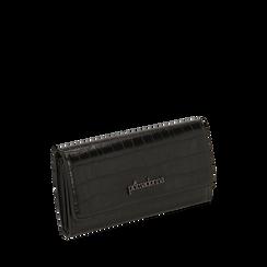 Portafogli nero stampa cocco , IDEE REGALO, 165131611CCNEROUNI, 002a