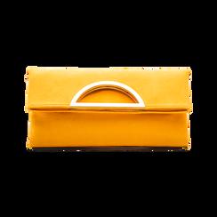 Pochette gialla in microfibra scamosciata, Saldi Borse, 123308714MFGIALUNI, 001 preview