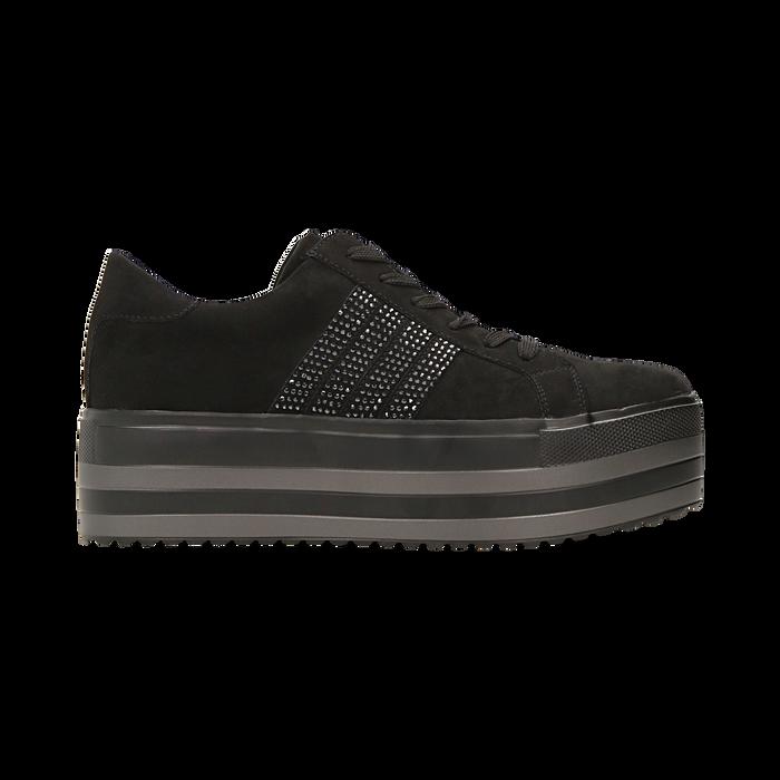 Sneakers nere suola platform multistrato, Scarpe, 122818575MFNERO