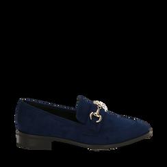 Mocassini blu in microfibra, Scarpe, 164964141MFBLUE035, 001a