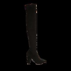 Overknee a punta neri in microfibra, tacco 10 cm , Stivali, 142172635MFNERO035, 001 preview