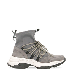 Sneakers grigie dad shoes a calza in lycra, Primadonna, 124108060LYGRIG035, 001a