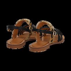 Sandali neri in eco-pelle con dettaglio leopard, Saldi Estivi, 135201203EPNERO036, 004 preview