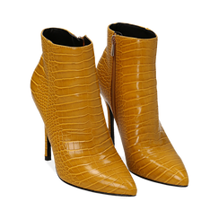 Ankle boots gialli stampa cocco, tacco 11 cm , Stivaletti, 142168616CCGIAL036, 002 preview