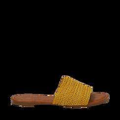Mules flat gialle in eco-pelle intrecciata, Primadonna, 133600110EIGIAL035, 001a