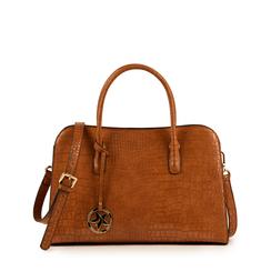 Bolsa de mano en eco-piel con estampado de cocodrilo color cuero, Primadonna, 155702495CCCUOIUNI, 001a