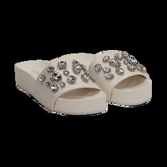 Zeppe bianche in eco-pelle con gemme, zeppa 4 cm, Primadonna, 115160026EPBIAN037, 002 preview