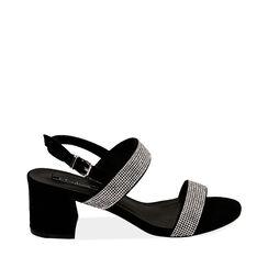 Sandales noires en microfibre avec strass, talon de 6,5 cm, Primadonna, 152909505MPNERO035, 001a