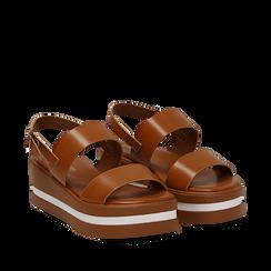 Sandali platform cuoio in eco-pelle, zeppa 5 cm , Saldi Estivi, 132147512EPCUOI035, 002a