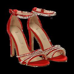 Sandali rossi in raso con strass argento, tacco stiletto 11 cm,