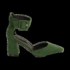 Décolleté verdi in microfibra, tacco 8 cm, Primadonna, 164823062MFVERD036, 001 preview