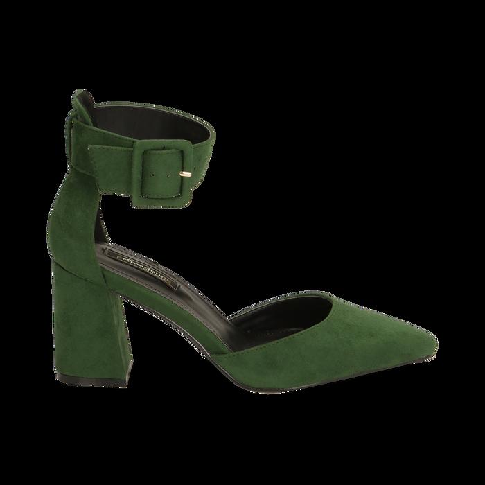 Décolleté verdi in microfibra, tacco 8 cm, Primadonna, 164823062MFVERD036