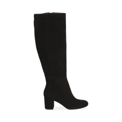 Stivali neri in camoscio, tacco 7 cm, Scarpe, 14D601110CMNERO036, 001 preview