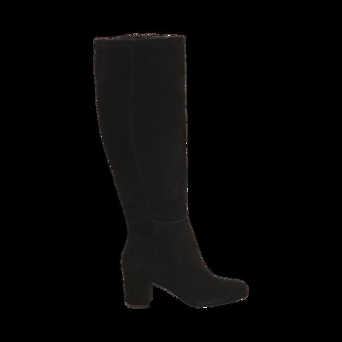Stivali neri in camoscio, tacco 7 cm, Scarpe, 14D601110CMNERO036
