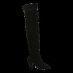 Stivali sopra il ginocchio  neri, tacco a cono 7,5 cm, Primadonna, 124981202MFNERO, 001 preview