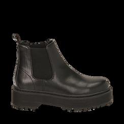 Chelsea boots platform neri in eco-pelle, suola 5,5 cm , Stivaletti, 140619239EPNERO035, 001a