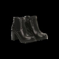Tronchetti neri con profilil elastici e mini-borchie, tacco 5 cm, Primadonna, 129321587EPNERO040, 002 preview