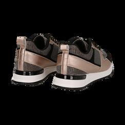Sneakers oro rosa glitter con dettagli in eco-pelle, Scarpe, 14D814301GLRAOR036, 004 preview