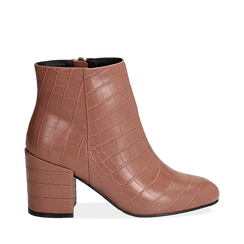 Ankle boots nude stampa cocco, tacco 7,5 cm , Stivaletti, 142762715CCNUDE035, 001a