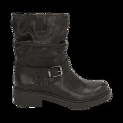 Biker boots neri in pelle con fibbia, Stivaletti, 147200635PENERO036, 001 preview