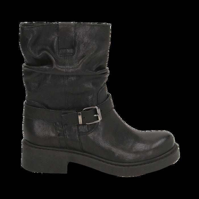 Biker boots neri in pelle con fibbia, Stivaletti, 147200635PENERO036
