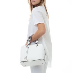 Borsa piccola bianca in eco-pelle, con manico foulard, Borse, 135786700EPBIANUNI, 002a