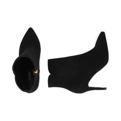 Ankle boots a punta neri in microfibra, tacco 8,5 cm , Stivaletti, 141764344MFNERO035, 003 preview