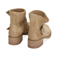 Biker boots taupe in camoscio, Scarpe, 157782014CMTAUP039, 004 preview