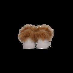 Sneakers bianche con ricami animalier e dettagli in faux-fur, Scarpe, 126102020EPBIAN, 003 preview
