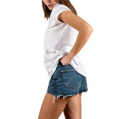 T-shirt blanc en coton avec imprimé, Vêtements, 15I700217TSBIANL, 002a