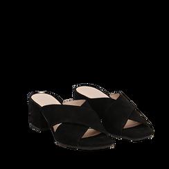 Mules nere in camoscio, tacco 6 cm, Primadonna, 13D602065CMNERO036, 002a