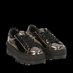 Sneakers platform canna di fucile effetto specchio, zeppa 5 cm, Scarpe, 142618776SPCANN036, 002a