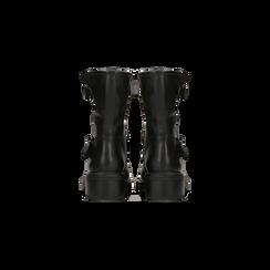 Biker neri con gambale morbido e doppia cinghia, Scarpe, 12A702711EPNERO, 003 preview