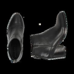 Ankle boots neri in pelle di vitello, tacco 6,50 cm, Primadonna, 15J492410VINERO035, 003 preview