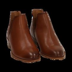Bottines en cuir camel, talon de 3 cm, Chaussures, 159407601PECUOI037, 002 preview