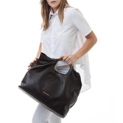 Maxi-bag nera in eco-pelle, con sacca interna, Borse, 132382424EPNEROUNI, 002a